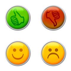 Icone e bottoni di approvazione e disapprovazione
