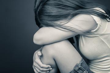 Sad lonely  teenage girl crying