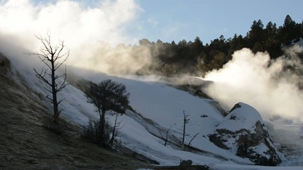 Yellowstone Winter Landscape - Geyser against Setting Sun light