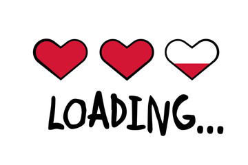 Loading message with hearts bar for valentines day