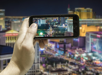 Hand takes a picture in Las Vegas, USA