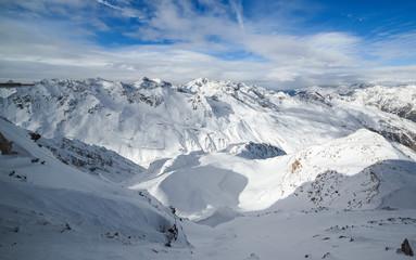 beautiful vista of snow covered mountain peaks
