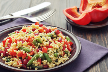 Salad with couscous and vegetables