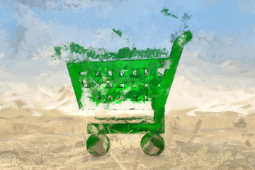 Green shopping cart painting