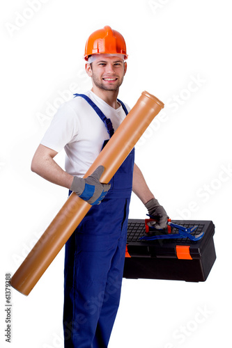 Sewer worker with equipment