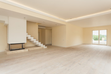 Unfinished living room interior