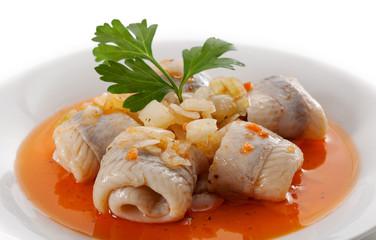 Rolled herring fillets
