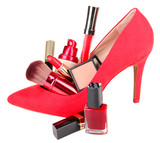 Beautiful red female shoe with cosmetics, isolated on white