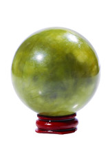 Ball of green jade stone on the stand