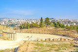 Oval Forum in the ancient Jordanian city of Jerash, Jordan