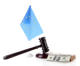Gavel, money and flag of Europe, isolated on white
