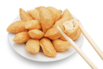 sweet fried dumpling for Chinese New Year with clipping path