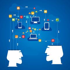 social media network through device concept vector