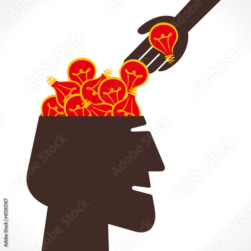 putting bulb or head with full of new idea concept vector