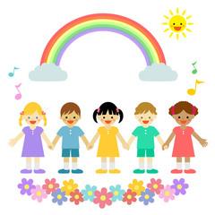 虹と子供たち / vector eps