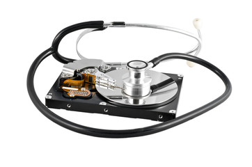 Isolated stethoscope on the hard disk drive