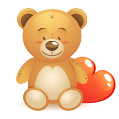 Cute teddy bear children toy with heart gift