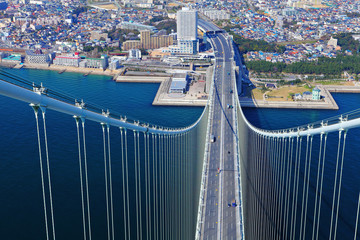 Akashi Kaikyo bridge view about Kobe from top