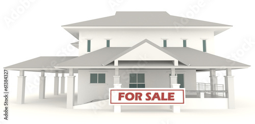 White 3D house with for sale badge in isolated background