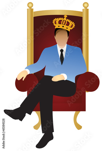 A successful businessman is sitting like a king (v