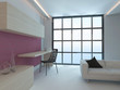 Living room interior with pink wall and floor to ceiling window