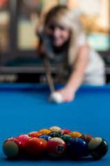 Female Playing Billiard