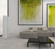 White living room interior with vibrant green decoration