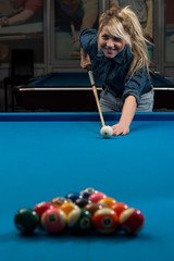 Girl Playing Billards