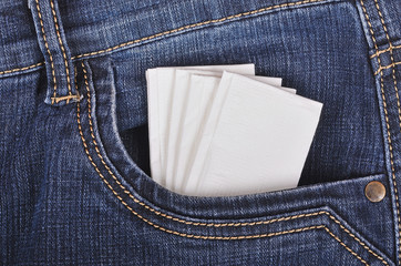 Paper handkerchief in the jeans pocket