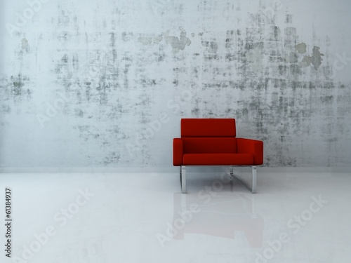 3d Rendering of red chair against concrete wall