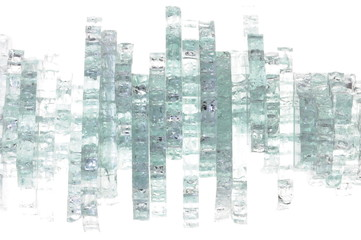 Pieces of broken glass on white background