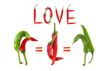 Picture of the peppers, as an illustration of different sexes an
