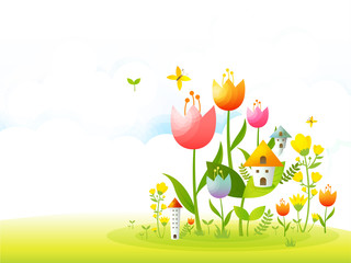 GIB0202 봄 배경 꽃밭