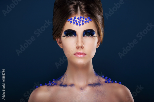 Fantasy. Artistic Woman with Fancy Creative Make-up. Glamour