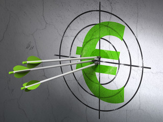 Currency concept: arrows in Euro target on wall background