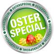 """Button """"Osterspecial"""" Ostereier grün/rot/silber"""
