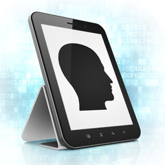 Advertising concept: Head on tablet pc computer