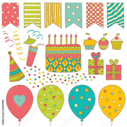 Birthday Surprise. Vector set.