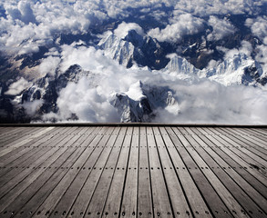 Mountain and wooden floor