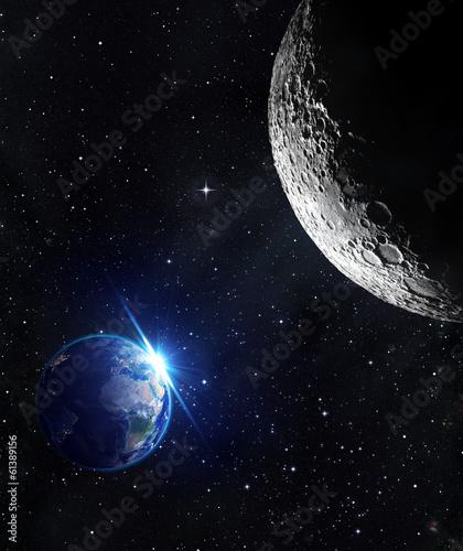 Fototapeta view from moon - sunrise of earth