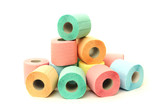 A lot of colorful toilet paper rolls