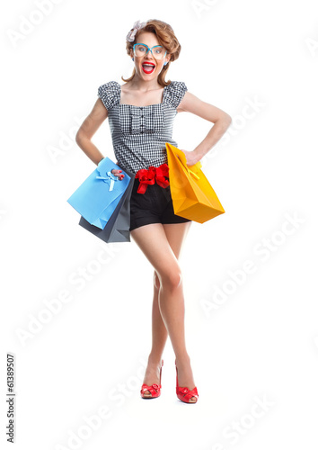 Surprised girl in a shopping