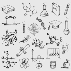 Hnad Drawn Science Symbol Doodles
