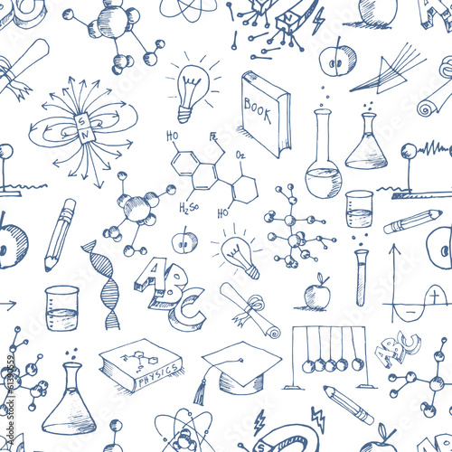 Seamless Science Doodle  icons Pattern