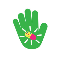 Vector logo hand with pill