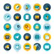 Set of flat design icons for E-commerce, Marketing, SEO