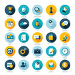 Flat design icons for Business, SEO and Social media marketing