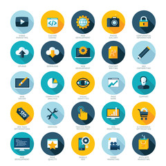 Flat design icons for Web design, SEO and Internet marketing