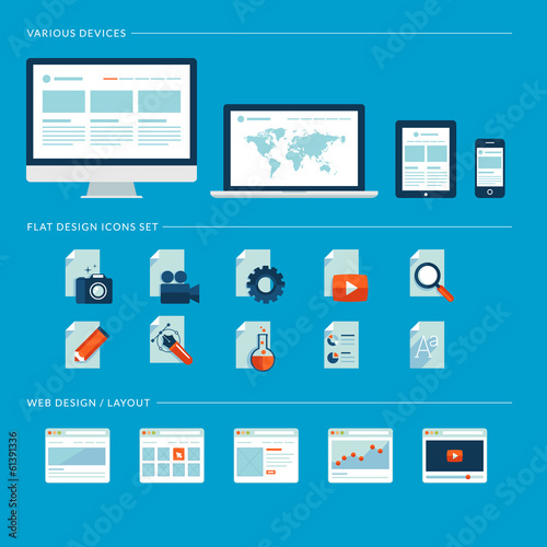 Flat design icons for web design and various devices.