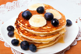 Pancakes with blueberry and bananas